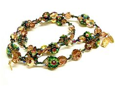Vendome Margarita crystal Statement Necklace Watermelon crystal. Rare Brilliant sparkle! Vintage jewelry , $125.00