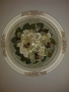 Preserved Wedding Bouquet in an antique white frame  from Lasting Memories Floral Preservation  248.375.7755 www.LMFP. net