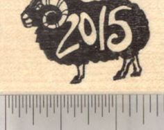 Chinese Zodiac Rubber Stamp 2015 New Year, of the Sheep or Ram, Shengxiao, Black D25525 Wood Mounted