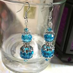 Only $6.69! - Dazzling Deep Aquamarine Blue Glass Faceted Beaded Earrings, Stacked Aquamarine Earrings, Silver 4 Tier Iridescent Blue Beads Earrings - FREE USA SHIPPING https://www.etsy.com/listing/458854924/deep-aquamarine-blue-glass-faceted