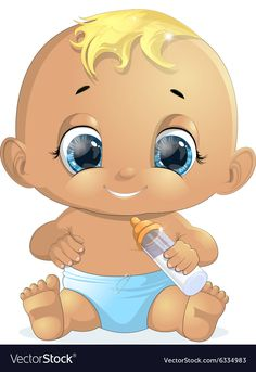 small baby with a bottle painted on a white background Bottle Painting, Body Painting, Big Head Baby, Cute Baby Cartoon, Baby Zoo Animals, Baby Coloring Pages, Image Clipart, Baby Drawing, Baby Shower Fun