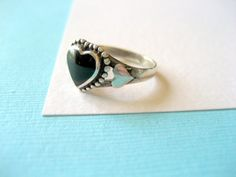 Sterling Silver and Black Onyx Heart Ring by sparklinglotusdesign, $20.00