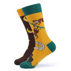 Our mischievous monkey socks are both cute and fun. Don't be too naughty in these socks as Santa still has to come and visit. Made with Cotton, Nylon, and Spandex, these Unisex socks are perfect for US Size feet. Crazy Socks, Cool Socks, Funky Socks For Men, Brown Socks, Yellow Socks, Sock Animals, Happy Socks, Knitting Designs, Monkey