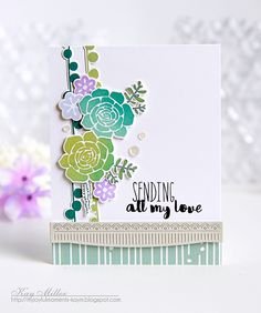 Sending All My Love Card by Kay Miller for Papertrey Ink (April 2016)