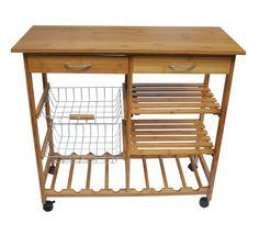 Kitchen Cart with Bamboo Wood Top   Wayfair
