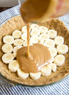 This caramel banana cream pie has a delicious graham cracker crust, followed by a caramel layer, topped by banana pudding and whipped cream for a delicious twist on traditional banana cream pie.