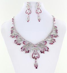 NS-H009551 S-Pink #blingnecklace #blingjewelry #pageantnecklace #pageantjewelry #promnecklace #promjewelry #lmbling