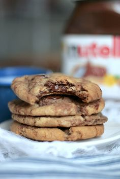 Nutella Chocolate Chip Cookies - These are good, but I thought they were best cooked only 7 minutes 30 seconds and left on the pan to cool for 5 minutes. I like my cookies softer rather than crunchy though.