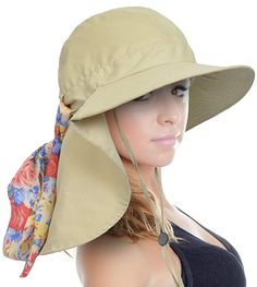 57204a0336ed0 Sun Blocker Women s Safari Sun Hat with Neck Flap Large Brim Packable  Summer Beach Fishing Cap