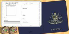 Twinkl Resources  Australian Passport Template   Classroom printables for Pre-School, Kindergarten, Primary School and beyond! passport, airline, australia,