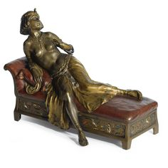 Franz Bergman 1838-1894 AUSTRIAN SACRIFICE OF CLEOPATRA signed Nam Greb and with the Bergman foundry seal. cold-painted and patinated bronze