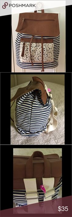 Blue,white and brown backpack New backpack 🎒  comes with tags never used Bags Backpacks