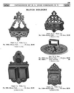 H L JUDD CO., N.Y. cast metal match holders, Catalogue No. 50, January 1913, pg. 279.