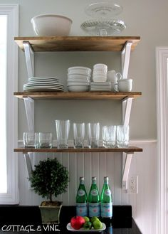 Nice clean open shelves in the kitchen. Simple DIY