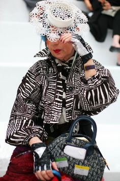 At Moschino….Anna Piaggi - I want to be this cool one day. (And I'd wear that awesome jacket now).