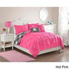 Chelsea 4-piece Reversible Comforter Set Hot Pink-Twin