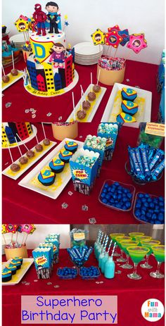 DIY Superhero Birthday Party Ideas for boys including decorations, invitations, favors, centerpieces, activities, snacks, games, food, cake and more