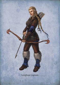 Female Viking Norse ranger archer fighter bow arrow leather armor clothes clothing fashion player character npc | Create your own roleplaying game material w/ RPG Bard: www.rpgbard.com | Writing inspiration for Dungeons and Dragons DND D&D Pathfinder PFRPG Warhammer 40k Star Wars Shadowrun Call of Cthulhu Lord of the Rings LoTR + d20 fantasy science fiction scifi horror design | Not Trusty Sword art: click artwork for source