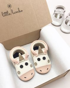 Little Lambo unicorn moccasins.
