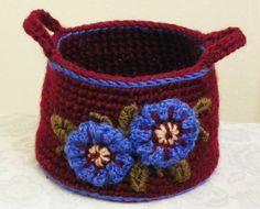crocheted basket in wool