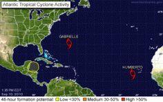 Katie Hickling: La tormenta tropical Gabrielle, que resurgió en el Atlántico norte, mantiene rumbo norte, a 155 kilómetros de las Bermudas, ahora con vientos máximos sostenidos de 85 kilómetros por hora y rachas superiores.