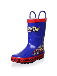 Joseph Allen Kid's JA20327 Boys Race Car Rain Boots (Red/Blue) Puddles won't stand a chance against this durable rubber design, removable cushioned insole, grippy treaded outsole BootKids