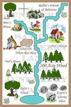 Classic Winnie the Pooh Invitations . by JuneberryLane on Etsy Winnie The Pooh Nursery, Winnie The Pooh Birthday, 100 Acre Wood, Map Projects, Pooh Bear, Eeyore, Owl House, Table Plans, Invitations