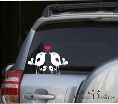 Lovely Bird Family, Car Vinyl decals stickers, via Etsy.