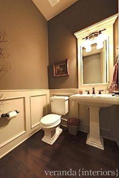 wall colors, half baths, paint color, downstairs bathroom, home interiors, hous, bathroom ideas, powder rooms, bath design