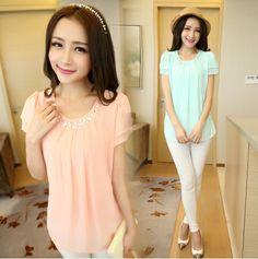 S~XXL New 2014 Summer Fashion Women Blouse Beads O-Neck Short Sleeve Chiffon Shirt Pink Light Green White Blouse Free Shipping $16.50