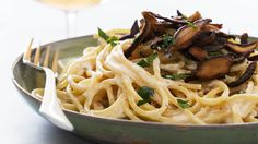 Chef Chloe Coscarelli on the Today Show. Vegan creamy pasta carbonara with crispy shiitake bacon.