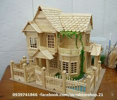 The Toothpicks House , Find Complete Details about The Toothpicks House,Bamboo House/ Toothpicks House/ Toothpick Art from Bamboo Crafts Supplier or M… - Alles über den Garten Popsicle Stick Crafts House, Popsicle Crafts, Popsicle Sticks, Craft Stick Crafts, Ice Cream Stick Craft, Bamboo House, Bamboo Crafts, Miniature Houses, Popsicles