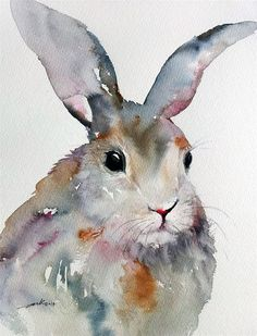"""Gray Rabbit"" original fine art by Arti Chauhan:"