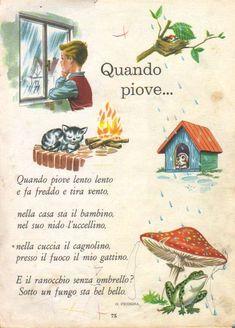 Nostalgia, Italian Phrases, Vintage School, Italian Language, Learning Italian, Circle Time, Nursery Rhymes, Vintage Cards, Vintage Posters
