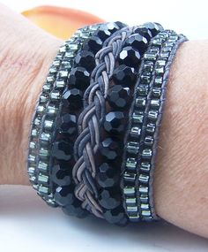 Jet Black & Gray Beaded and Braided Leather Cuff bracelet by TNine Design