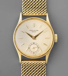 Patek Philippe Runde, mechanische Herrenarmbanduhr in 750 Gelbgoldgehäuse mit Armband ca. 55 g. Bo — Taschen- und Armbanduhren | juwelier-haeger.de