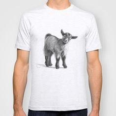 Goat baby G097 T-shirt by S-Schukina - $22.00