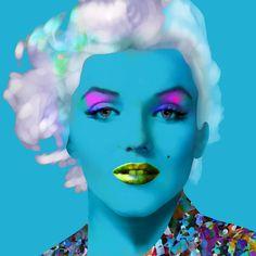 Marilyn Monroe Blue - 50's Film Star, Hollywood Siren, Celebrity Portrait Prints, Pop/Rock Artists by DandyHeroes on Etsy
