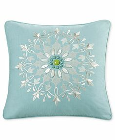 """Echo Sardinia 18\"""" Square Decorative Pillow, SOFT AQUA"""