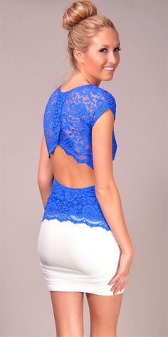 Gilber Gilmore - Deep V Open Back Lace Top - Cobalt