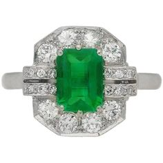 Preowned Art Deco Emerald Diamond Platinum Engagement Ring ($16,353) ❤ liked on Polyvore featuring jewelry, rings, green, diamond cluster ring, emerald ring, emerald cut ring, cluster engagement rings and round engagement rings