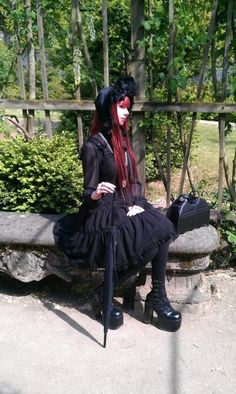 ☮JAPANESE STREET FASHiON☮••• gothic lolita ~ coordinate ~ dress ~ red hair ~ bonnet ~ parasol ~ shoes ~ bag ~ purse ~ bat ~ kawaii