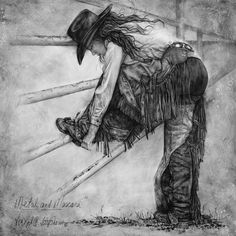 Jessie is a local cowgirl in Capitan NM and she does ride bulls, Metal & Mascara pencil drawing print by Virgil C. Stephens