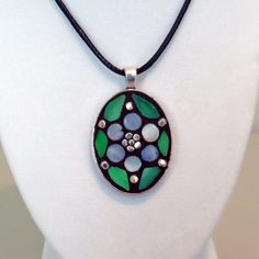 Mini mosaic pendant necklace with green by ShellyHeissDesigns, $35.00