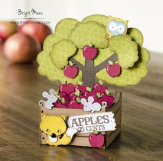 "Brigit's Scraps ""Where Scraps Become Treasures"": Box of Apples Box Card - Doodlebug Designs Cut Files Pop Up Box Cards, 3d Cards, Folded Cards, Cute Cards, Cards Diy, Card Making Tutorials, Making Ideas, Apple Boxes, Interactive Cards"