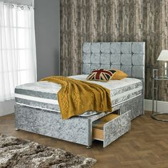 Dickinsons beds are proud to present their silver crushed velvet divan bed, the bed comes with a memory orthopaedic mattress which boasts a 10 inch depth whilst offering multiple storage options. Buy online today, starting at just Divan Beds With Storage, Single Beds With Storage, Bed Storage, Velvet Headboard, Velvet Bed, Kids Bed With Slide, Day Bed Frame, Divan Sets, Super King Size Bed