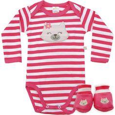Body Bebê Menina Listrado com Sapatinho Rosa - Best Club :: 764 Kids | Roupa bebê e infantil