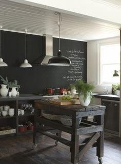 kitchen w blackboard recycled wood island by roji