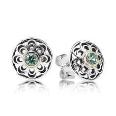 PANDORA Magazine | Silver stud earring with 14k and green synthetic spinel
