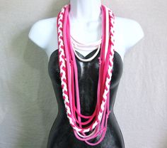 T SHIRT SCARF - Pink scarf - infinity scarf - jersey scarf - recycled tshirt scarf - Pinks. $15.00, via Etsy.